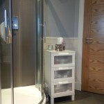 Shower cubicle with wet wall and chrome riser